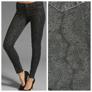 PAIGE Verdugo Lace Snake Print Black Skinny Jeans